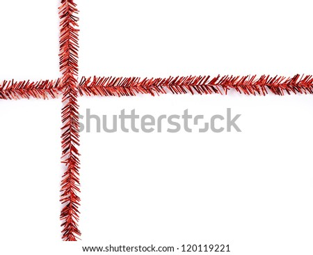 Christmas decorations, red ribbon on white background