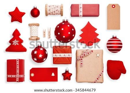 Christmas decorations set isolated on white - stock photo