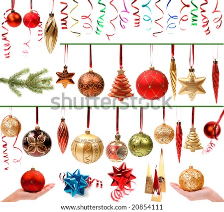 Christmas decorations set isolated on white background - stock photo