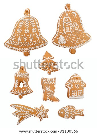 Christmas Decorations Shaped Gingerbread - Collection Isolated on White Background - stock photo