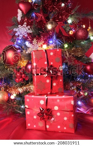 Christmas decorations with baubles detail - stock photo