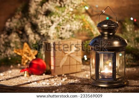 Christmas decorations with beautiful vintage lantern  - stock photo