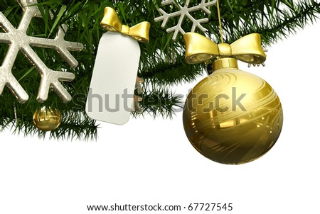 Christmas decorations with blank tag on fir branch isolated on the white background - stock photo