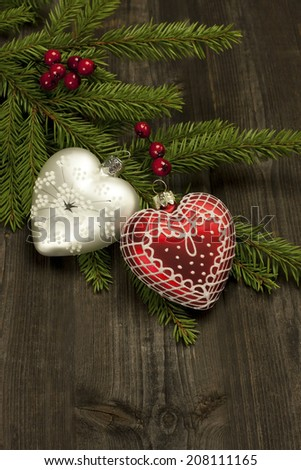 Christmas decorations with christmas baubles  - stock photo