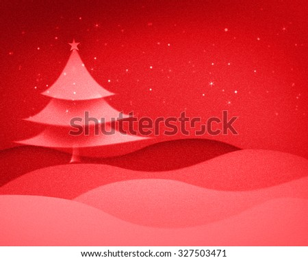 Christmas decorations with Christmas tree and snow. green color filter. red color filter. - stock photo