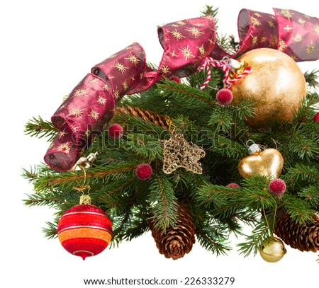 christmas decorations with evergreen fir tree isolated on white background