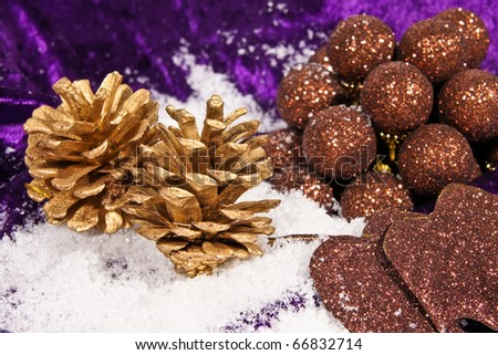 Christmas decorations with gold cones