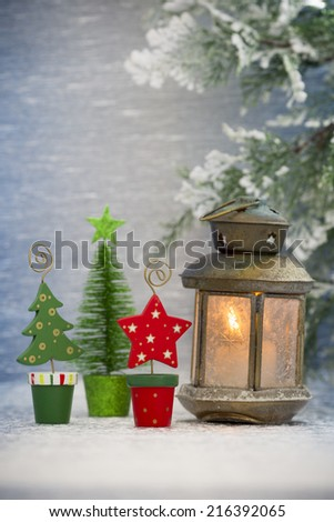 Christmas decorations with lantern. Christmas greeting card.