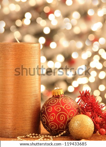 Christmas decorations with ornaments and lights - stock photo
