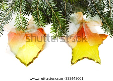 Christmas decorations with pine branches - stock photo