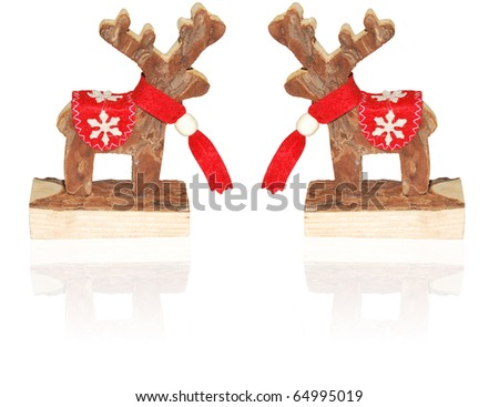 christmas decorations wooden reindeer with red scarf