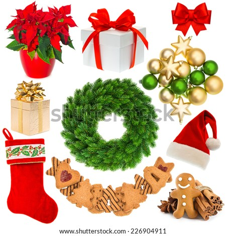 christmas decorations wreath, hat, red sock, gift box, baubles, gingerbread cookies isolated on white background - stock photo