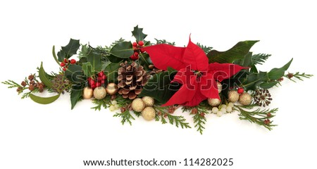 Christmas decorative floral arrangement of a poinsettia flower, holly, mistletoe, ivy, cedar cypress leaf sprigs, pine cones and gold sparkling baubles over white background. - stock photo