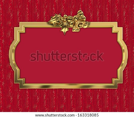Christmas decorative golden 3D frame - stock photo