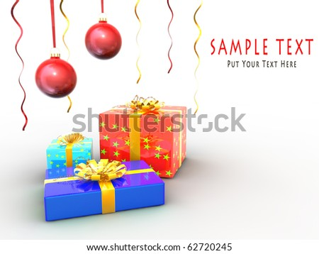 Christmas decorative hangings and gift boxes with copyspace for your designs.
