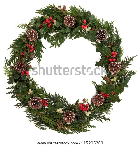 Christmas decorative wreath of holly, ivy, mistletoe, cedar and leyland leaf sprigs with pine cones over white background. - stock photo