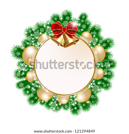 Christmas decorative wreath on white background. Raster version - stock photo
