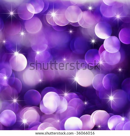 Christmas deep purple lights background with little stars - stock photo