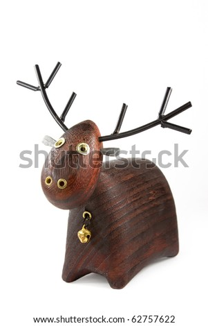 Christmas deer isolated on white - stock photo