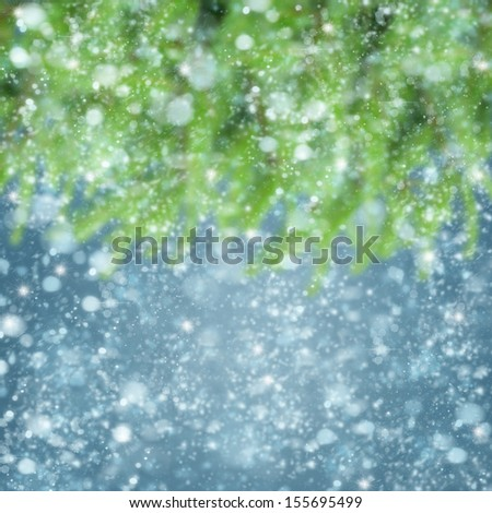 christmas defosued background with fir tree and snow - stock photo