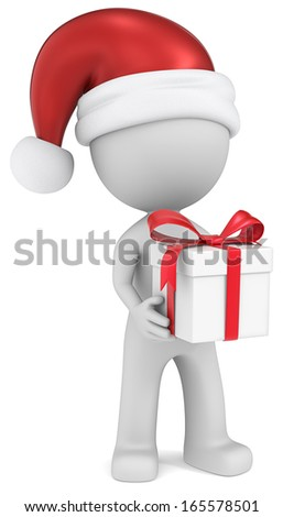 Christmas Delivery. Dude the Santa Claus holding Gift Box. White, red ribbons. - stock photo