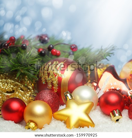 Christmas design background with snow and decorations  - stock photo