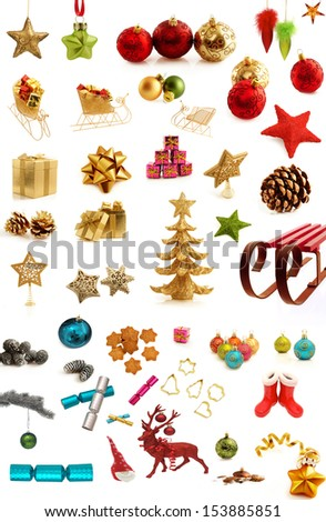 Christmas design elements collection isolated on white - stock photo