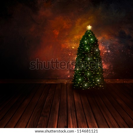 Christmas design - Night Christmas tree. Background with Glitter Xmas tree in room with art abstract painting. Vintage holiday card with copyspace. - stock photo
