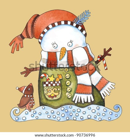 Christmas design. Watercolor snowman. Raster version - stock photo