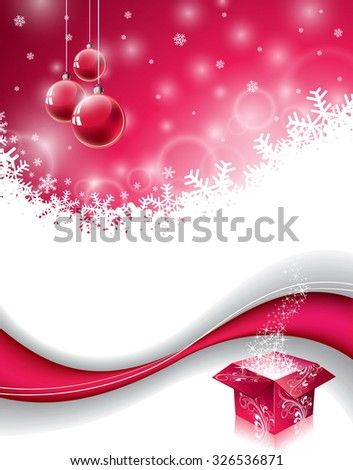 Christmas design with magic gift box and red glass ball on snowflakes background. JPG version. - stock photo