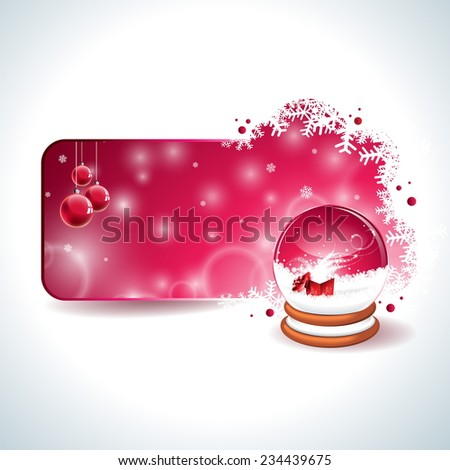 Christmas design with magic snow globe and red glass ball on clear background. JPG version. - stock photo