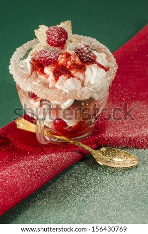 """Christmas dessert in a glass with decoration. blurred background. From series """"Cranberry-raspberry trifle"""" - stock photo"""