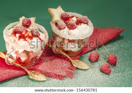 """Christmas dessert in a glass with decoration. From series """"Cranberry-raspberry trifle"""" - stock photo"""
