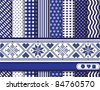 Christmas digital scrapbooking paper swatches in blue and white with Scandinavian style ribbon. Also available in vector format. - stock vector