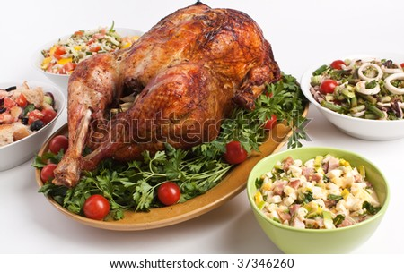 christmas dinner - stock photo