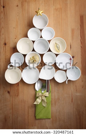 Christmas Dinner Concept Isolated on wooden background - stock photo