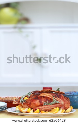 Christmas dinner of goose with fresh fruit and sage. Served with cranberry sauce and sweet potato souffle. Shallow DOF. - stock photo