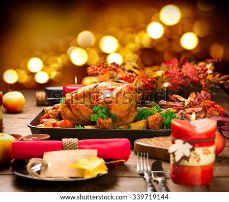 Christmas Dinner. Roasted Turkey on holiday served table. Thanksgiving table served with turkey & Christmas Dinner Roasted Turkey On Holiday Stock Photo (100% Legal ...