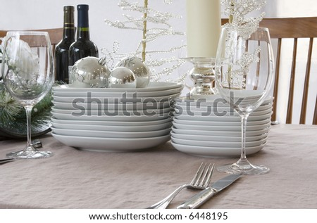 christmas dinner setting - white, bright & modern - stock photo