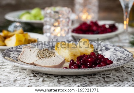Christmas dinner with turkey and cranberry sauce - stock photo