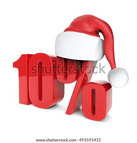 christmas discount sale collection with Santa's hat - 10%, 3D rendering