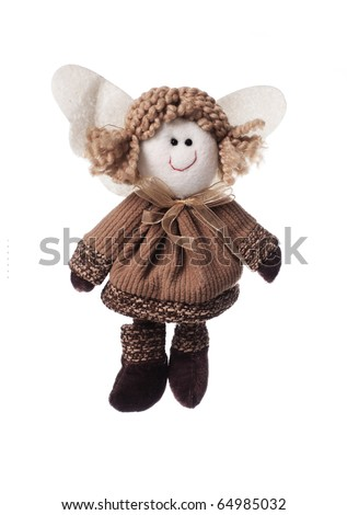 Christmas doll an angel made of a fabric and a wool, isolated on white, a lot of copyspace available