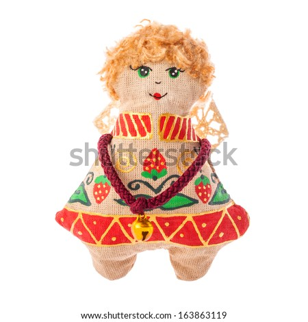 Christmas doll an Flying angel made of a fabric and hand-painted Ukrainian artists, Handmade decoration, Ukrainian souvenir, isolated on white background .