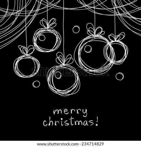 Christmas doodles balls. Cute hand drawn linear  background. Invitation, greeting card. Holiday child illustration with text box - stock photo
