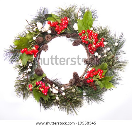 christmas door decoration - stock photo
