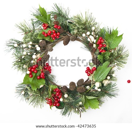 christmas door decoration  isolated on the white background - stock photo