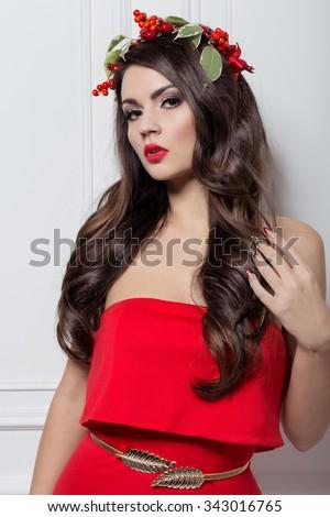 Christmas Elegant Fashion Woman Xmas New Stock Photo ...