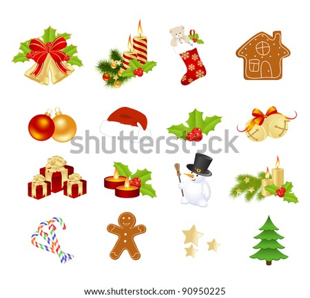 Christmas elements isolated on a white. Vector illustration.