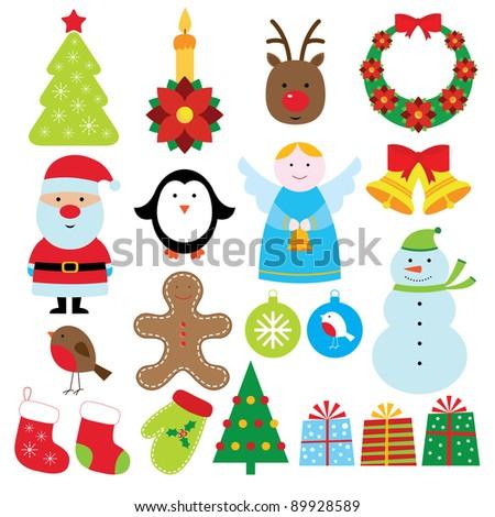 Christmas elements set - stock photo