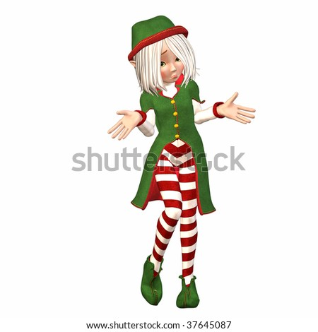 Christmas Elf feeling lost - stock photo